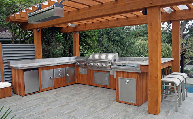 Outdoor kitchens pizza ovens north greece landscape in for Deck kitchen ideas